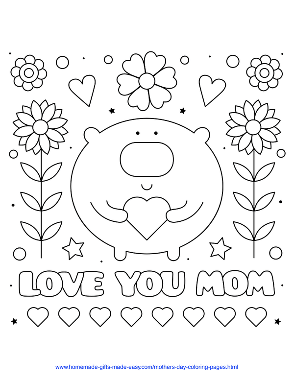 mother's day coloring pages - love you mom pig with hearts and flowers