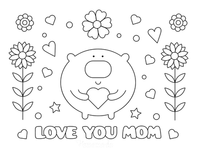 Mothers Day Coloring Pages Love You Mom Flowers Hearts Cute