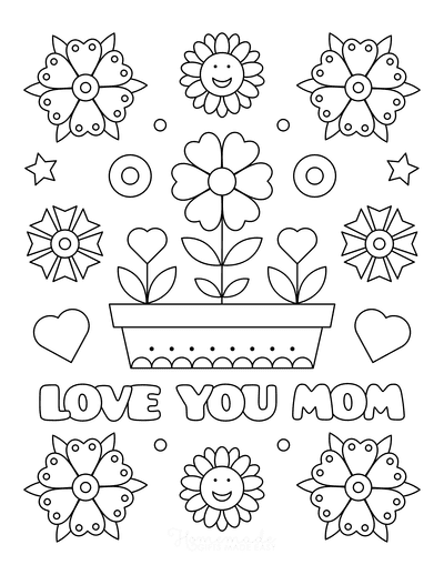Mothers Day Coloring Pages Love You Mom Flowers in Pot Hearts