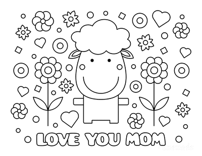 Mothers Day Coloring Pages Love You Mom Sheep Cute