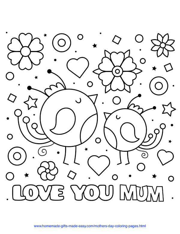 mother's day coloring pages - love you mum baby birds with hearts and flowers (UK spelling)