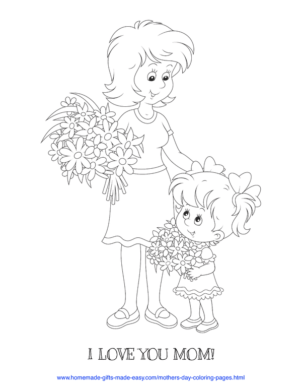mother's day coloring pages - love you mom daughter giving mom a bouquet of flowers