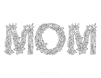 Mothers Day Coloring Pages Mom Flower Font