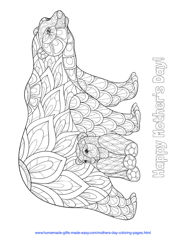mother's day coloring pages - intricate mother and baby bears
