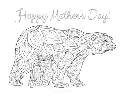 Mothers Day Coloring Pages Mother Baby Bear Teen Doodle