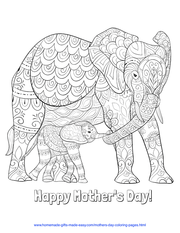 mother's day coloring pages - intricate mother and baby elephants