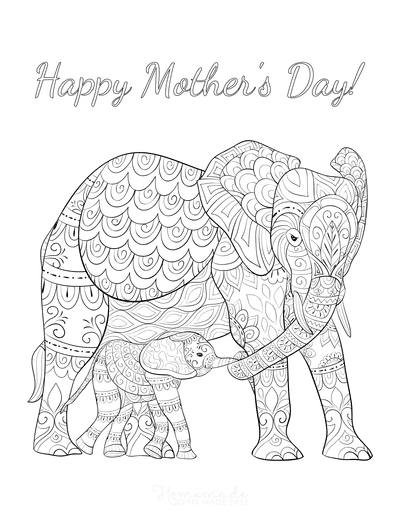 Mothers Day Coloring Pages Mother Baby Elephant Teen Doodle