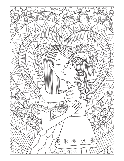 Mothers Day Coloring Pages Mother Daughter Detailed Doodle Teens