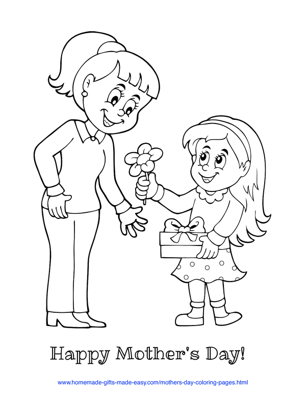 mother's day coloring pages - daughter giving mom a flower