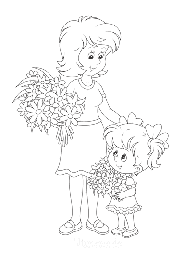 Mothers Day Coloring Pages Mother Daughter Flowers