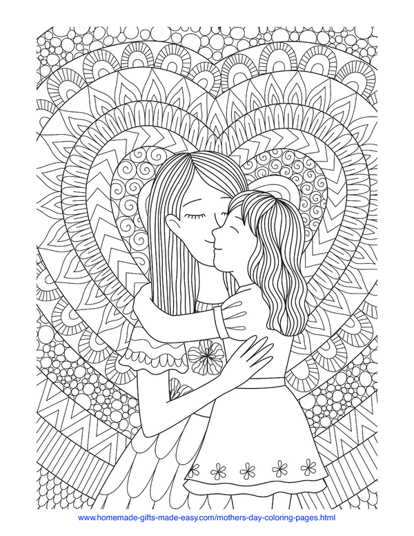 mother's day coloring pages - intricate mother and daughter hug and heart