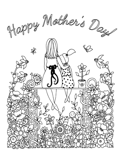 Mothers Day Coloring Pages Mother Daughter Sitting Garden Flowers