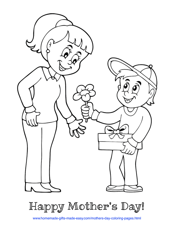 mother's day coloring pages - son giving mother a flower