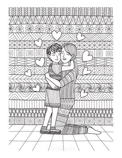 Mothers Day Coloring Pages Mother Son Hug Doodle