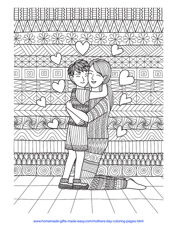 mother's day coloring pages - mother and son hug and hearts