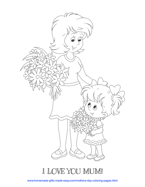 mother's day coloring pages - love you mum daughter giving mum a bouquet of flowers (UK spelling)