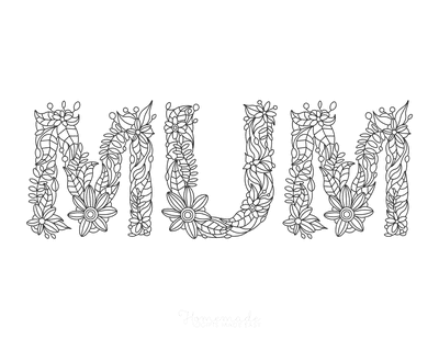 Mothers Day Coloring Pages Mum Flower Font