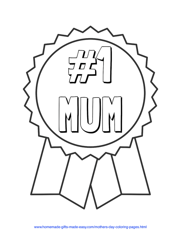 mother's day coloring pages - number 1 mum prize ribbon (UK spelling)