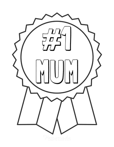 Mothers Day Coloring Pages Number One Mum