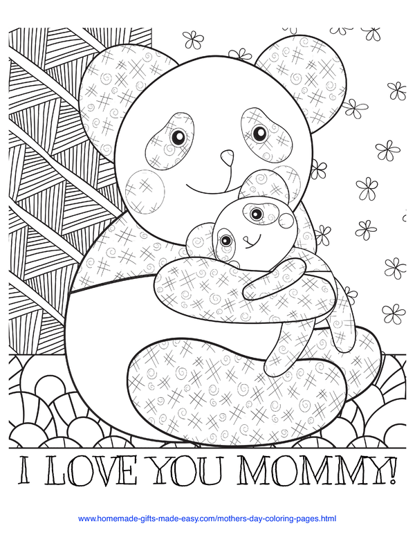 mother's day coloring pages - love you mommy panda and baby