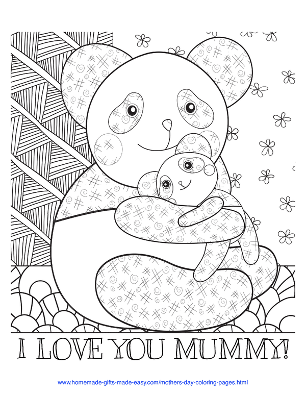 mother's day coloring pages - love you mummy panda and baby (UK spelling)
