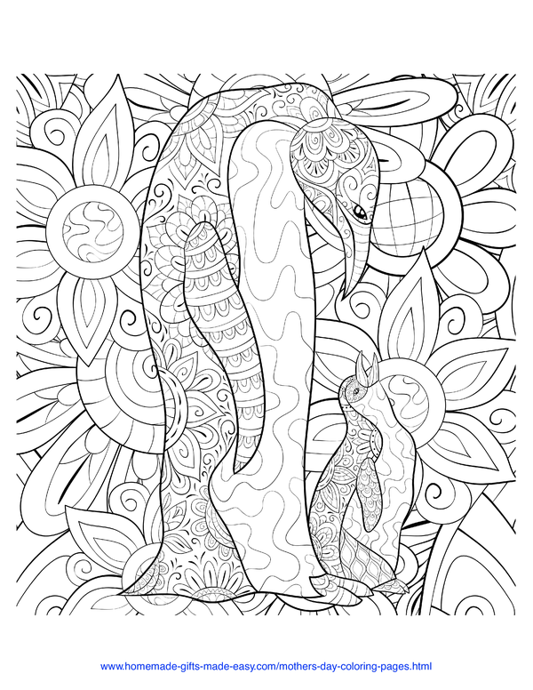 mother's day coloring pages - intricate mother and child penguin
