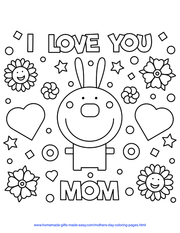 mother's day coloring pages - love you mom rabbit