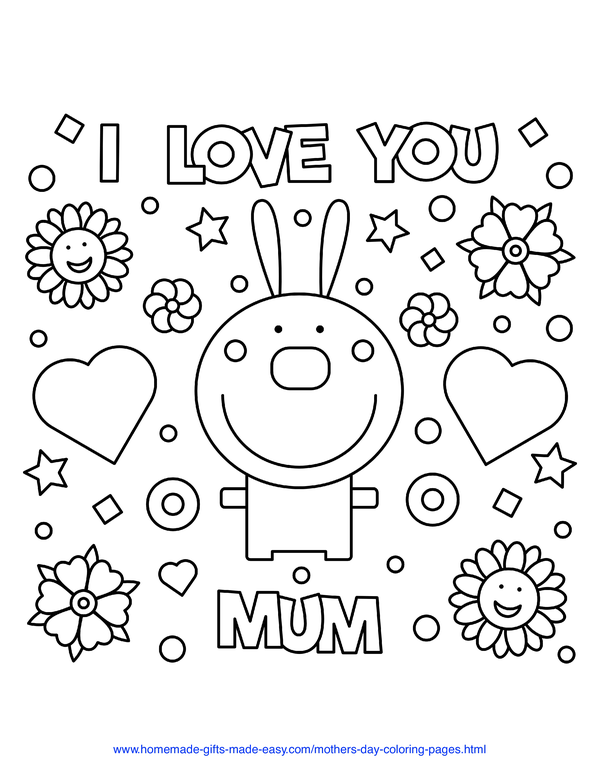 mother's day coloring pages - love you mum rabbit (UK spelling)