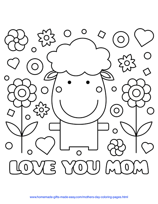 mother's day coloring pages - love you mom sheep