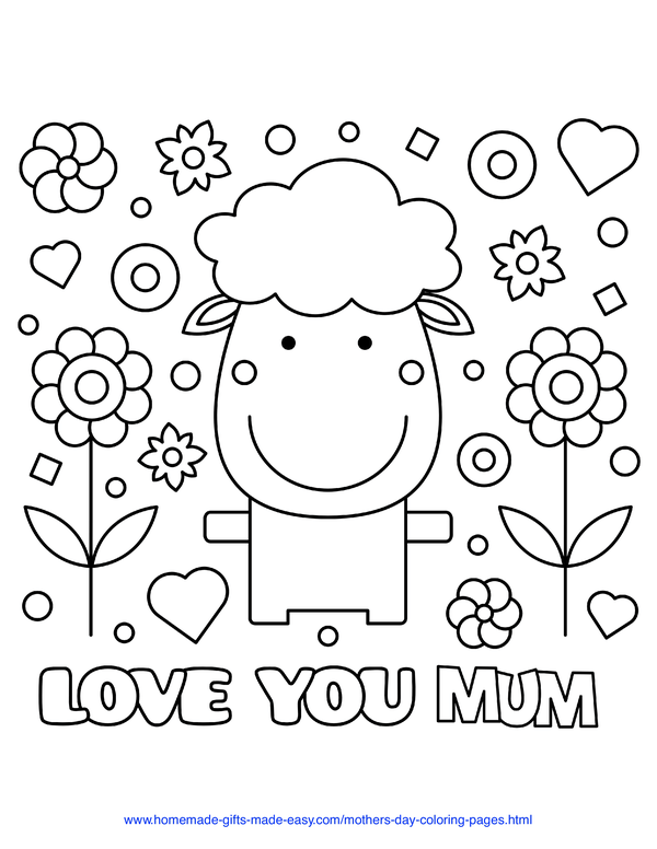 mother's day coloring pages - love you mum sheep (UK spelling)