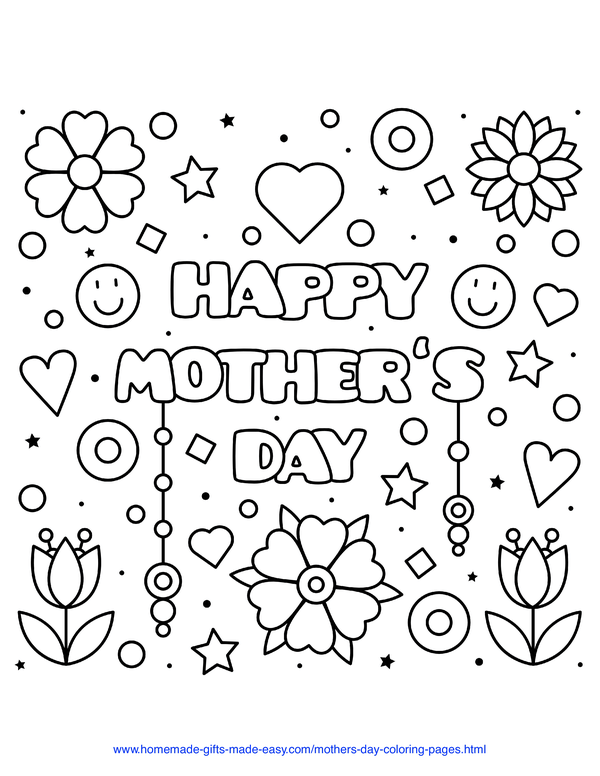 mother's day coloring pages - Happy Mother's Day sign with hearts and flowers and smiley faces