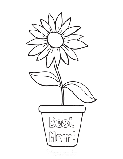 Mothers Day Coloring Pages Single Flower in Pot Best Mom