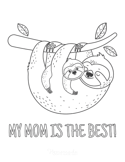 Mothers Day Coloring Pages Sloths Best Mom