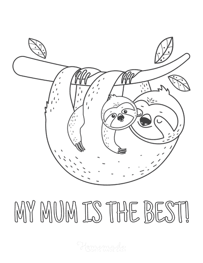 Mothers Day Coloring Pages Sloths Best Mum