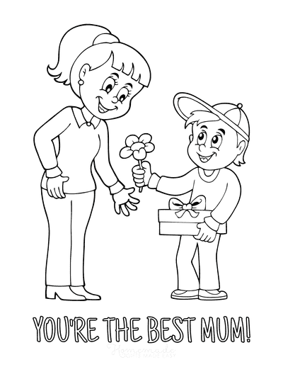 Mothers Day Coloring Pages Son Flower to Best Mum