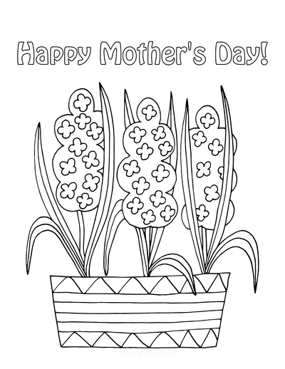 Mothers Day Coloring Pages Spring Flowers in Pot