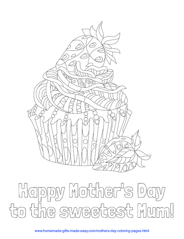 mother's day coloring pages - Happy Mother's Day to the sweetest mum (UK spelling)