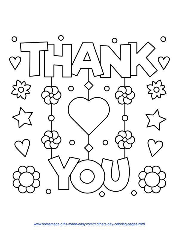 mother's day coloring pages - thank you flowers