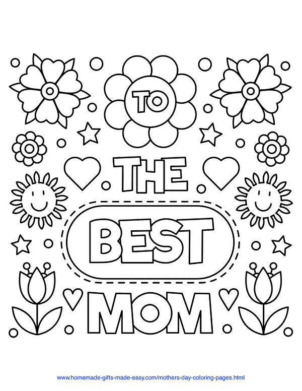 mother's day coloring pages - best mom flowers sign