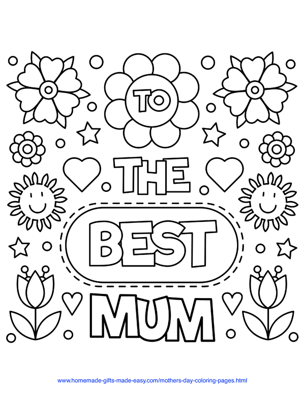 mother's day coloring pages - flowers to the best mum (UK spelling)