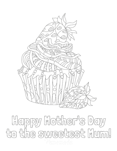 Mothers Day Coloring Pages to the Sweetest Mum Cupcake