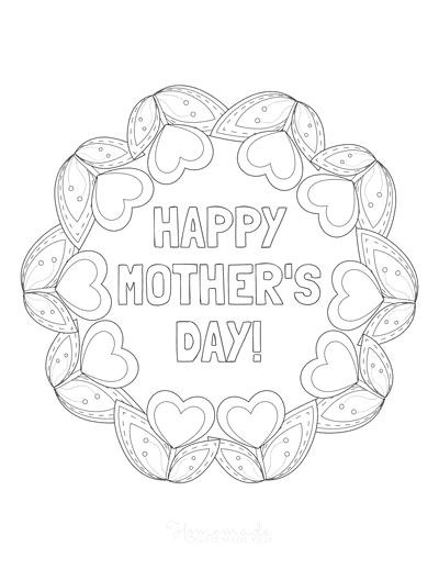 Mothers Day Coloring Pages Tulip Heart Wreath