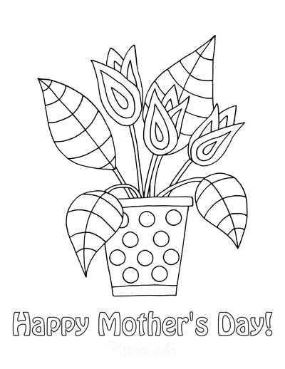 Mothers Day Coloring Pages Tulips in Pot