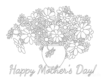Mothers Day Coloring Pages Vase of Flowers