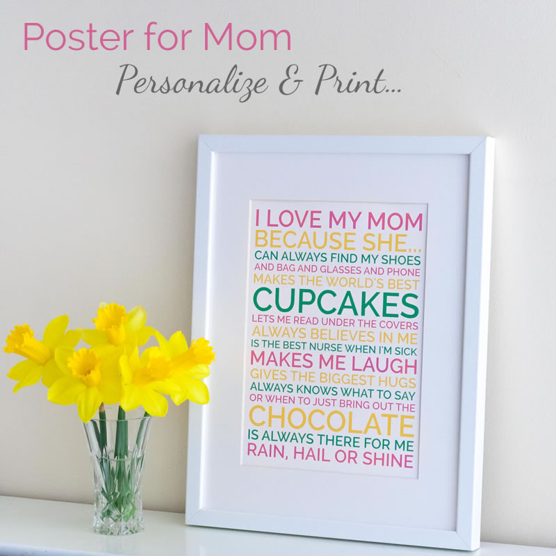 Personalized mothers day gift poster for Things to do on mother s day at home