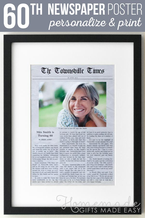 60th Birthday Personalized Newspaper Gift