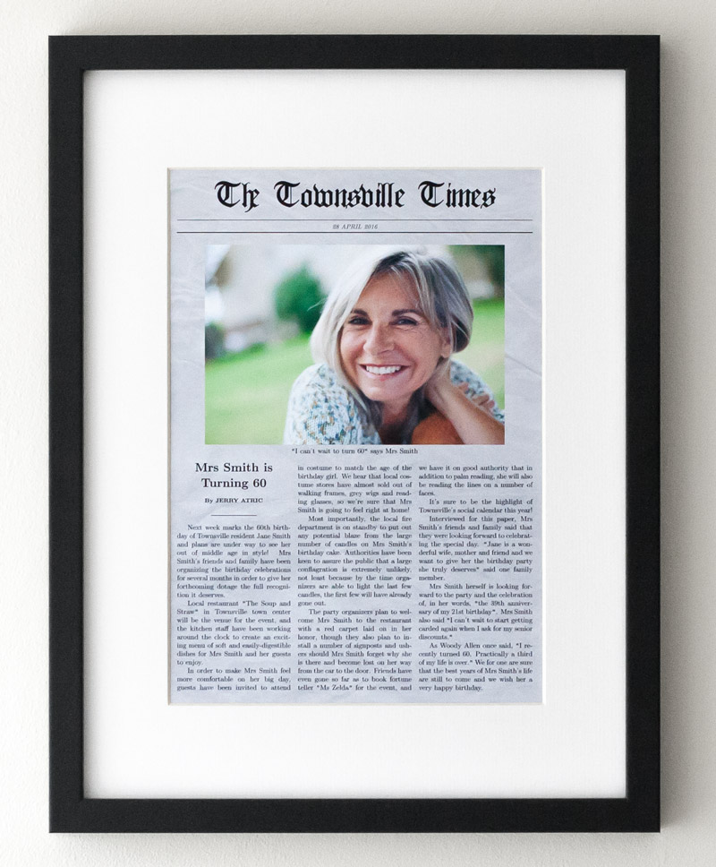 60th Birthday Personalized Poster Definition 60 Newspaper Generator