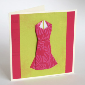 origami evening dress card