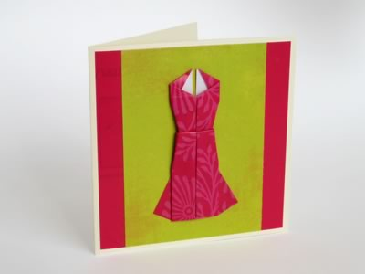 Designer Dress Patterns on Origami Card To Make   Cute Dress Design With Photo Instructions