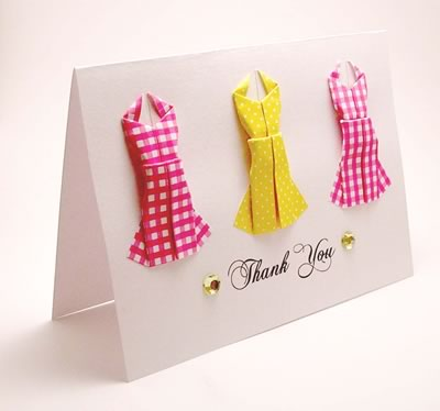 origami card three dresses kittykat